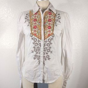 Johnny Was 3J Workshop Embroidered Button Up Sz XS